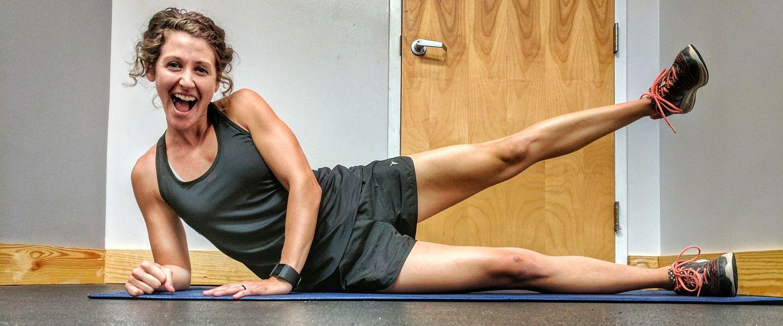 Writer Amanda Boyd does a leg raise