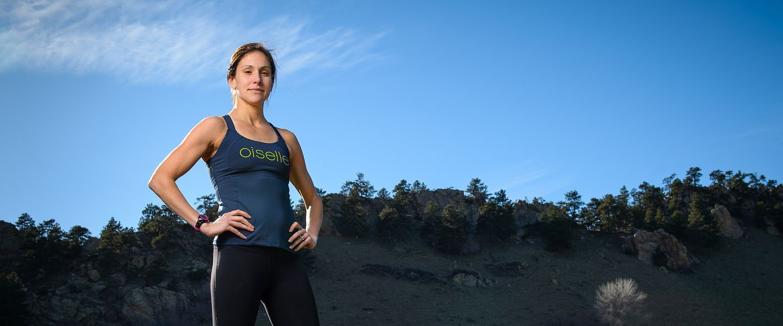 Elite runner Kara Goucher poses for a photo