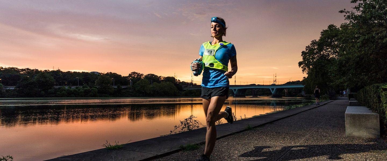 A woman running at night