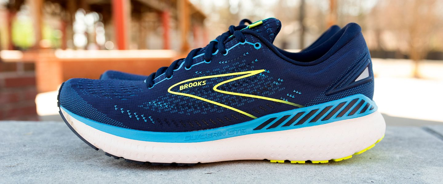 A pair of Brooks Glycerin 19 running shoes