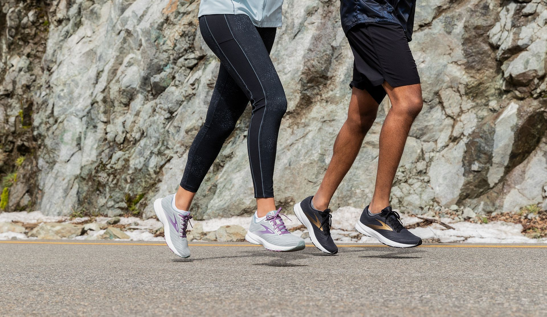 Two runners wearing the Brooks Launch 7 during a run