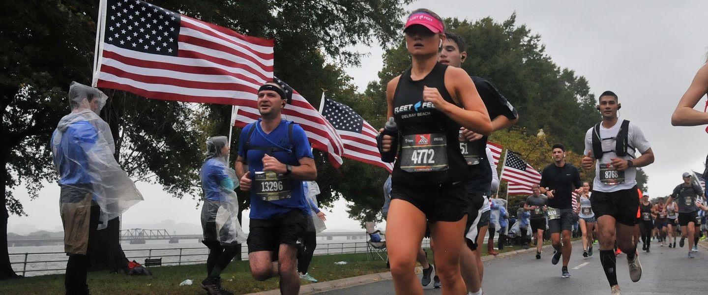 Writer Caroline Bell running during a race in Florida