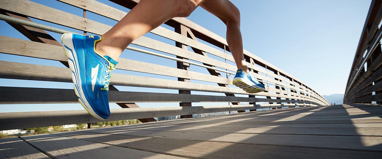 A runner wearing Altra running shoes