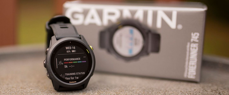 The Garmin Forerunner 745 watch and box