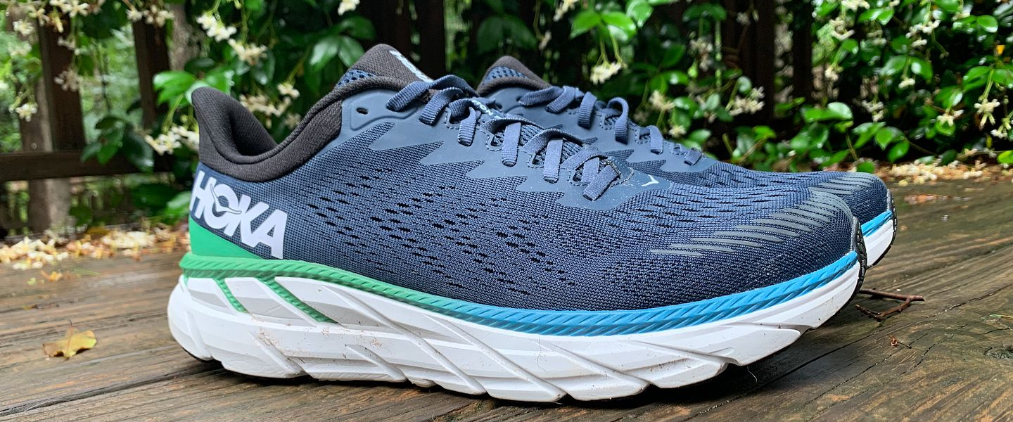 The profile view of the HOKA Clifton 7 running shoes