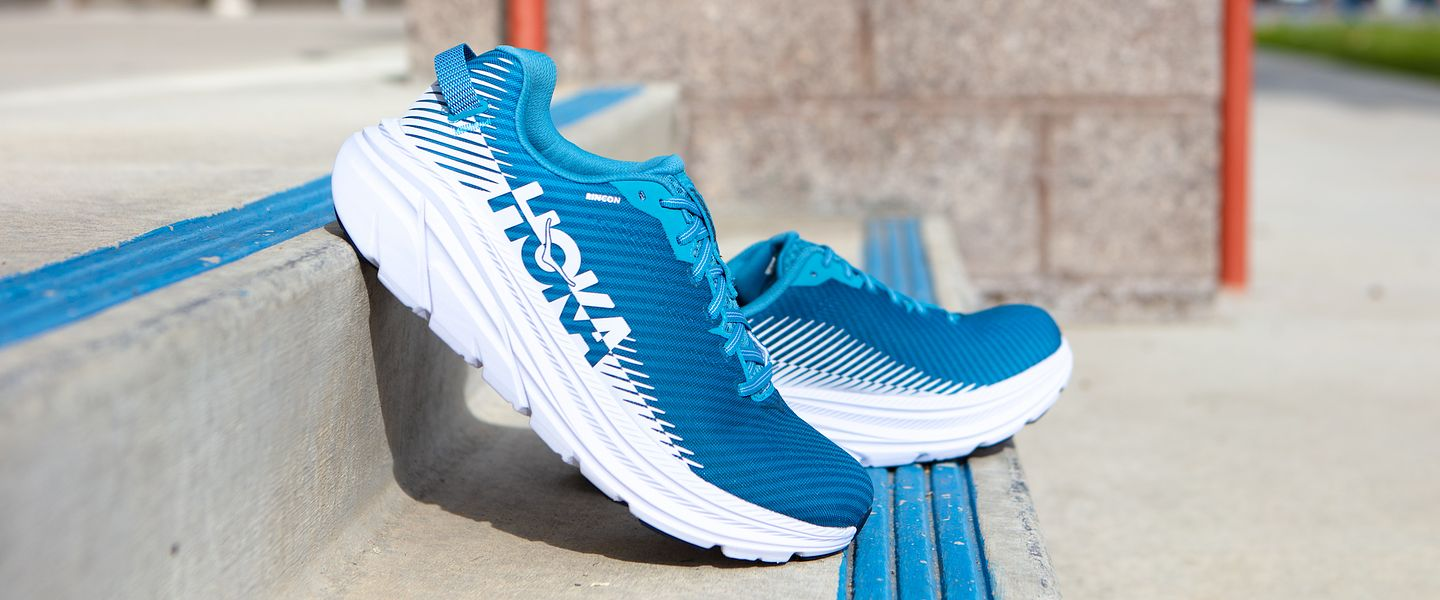 A pair of the HOKA Rincon 2 running shoes