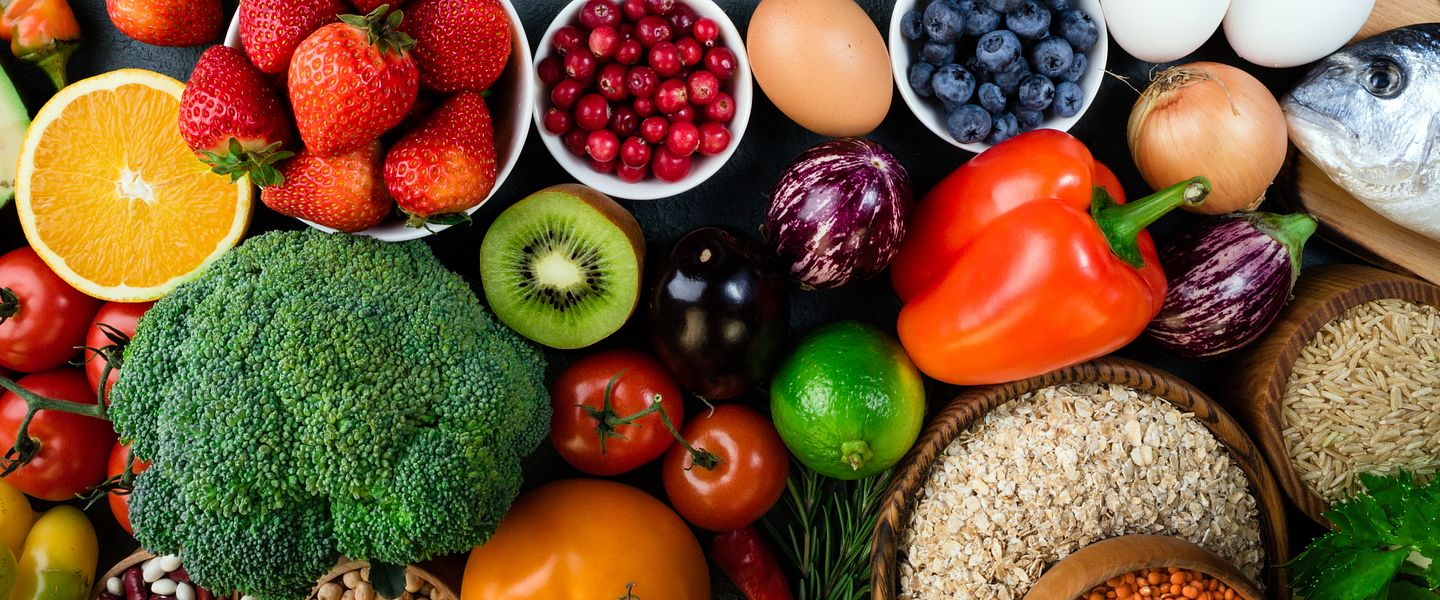 An array of healthy fruits, vegetables and meats