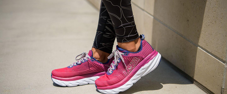 A woman wearing the HOKA ONE ONE Bondi 6 running shoes