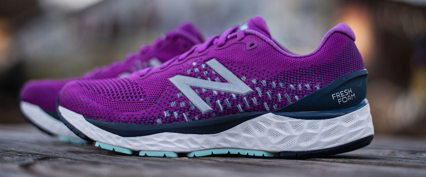 A pair of the women's New Balance Fresh Foam 880v10 in purple
