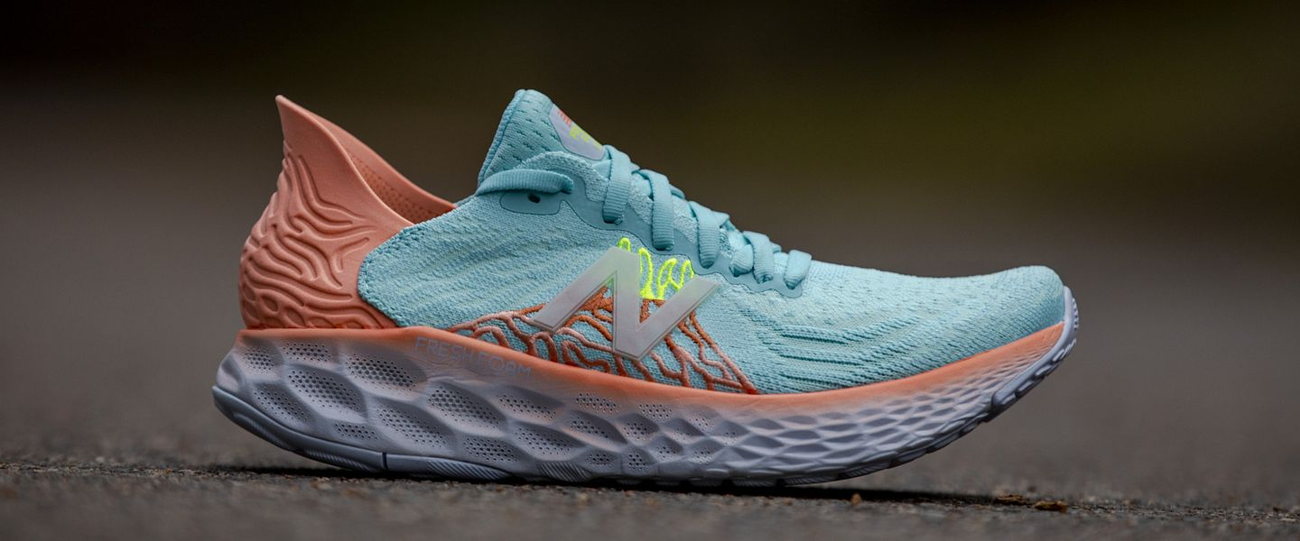 A pair of the women's New Balance Fresh Foam 1080v10 on the ground