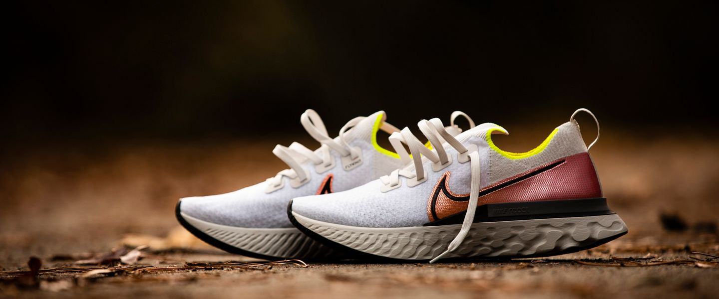 A pair of the Nike React Infinity Run running shoes on the ground