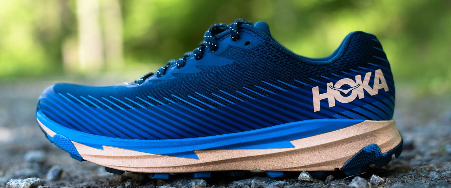 The profile of the women's HOKA ONE ONE Torrent 2 trail running shoes