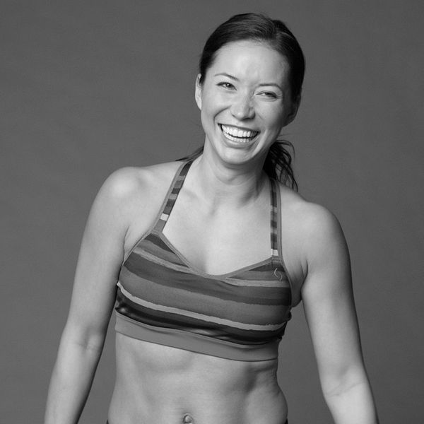 A woman models a sports bra