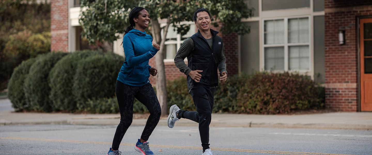 Two runners on a run together