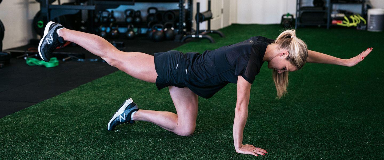 Emma Coburn demonstrates the bird dog activation exercise