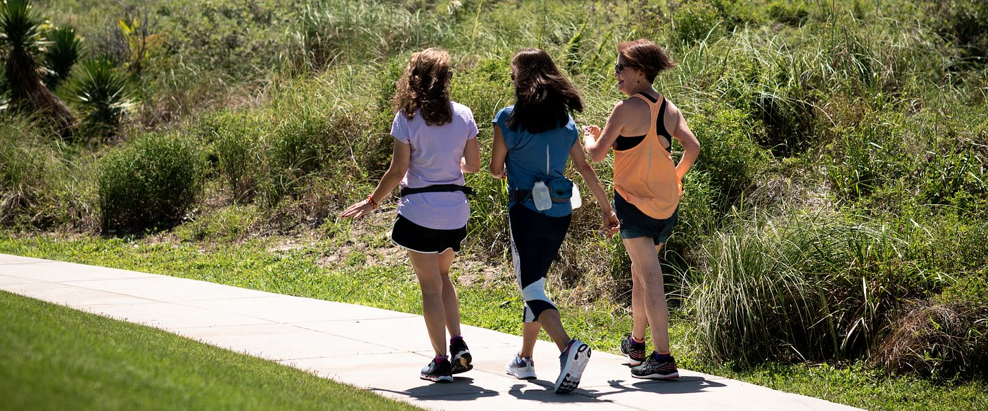 Three women go for a walk together