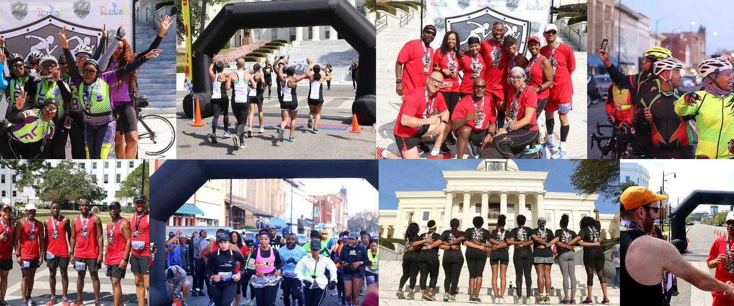 A collage of runners from the civil rights race series