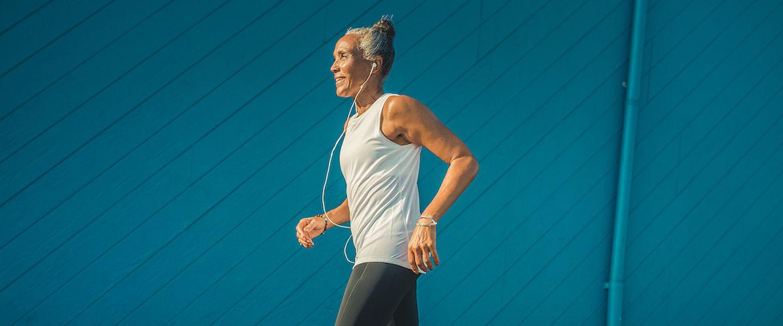 A woman running strong