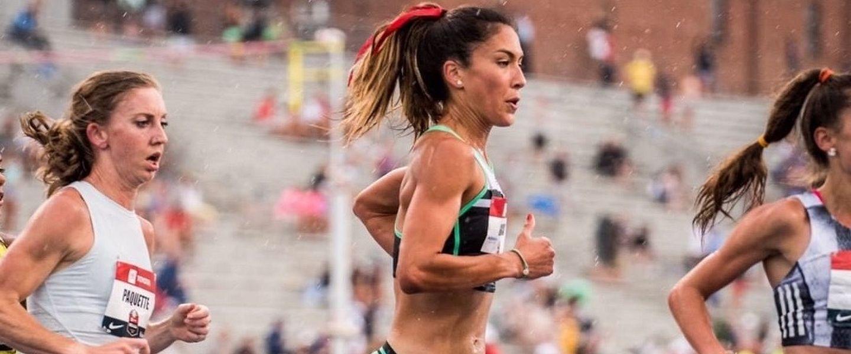 Steph Garcia races on a track